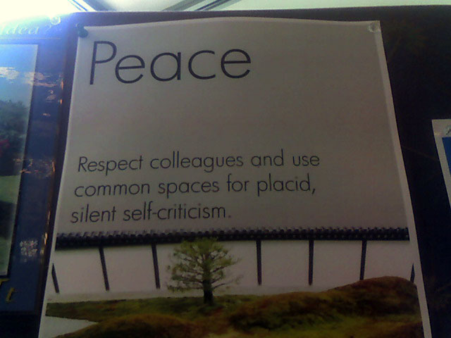 """placid, silent self-criticism"""